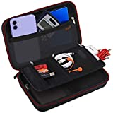 Electronics Organizer, Canboc Accessories Organizer Hard Shockproof Travel Portable Protective Case Double Layer Cable Storage Bag for Cord, Charger, Power Bank, Flash Drive, Phone, SD Card, Black