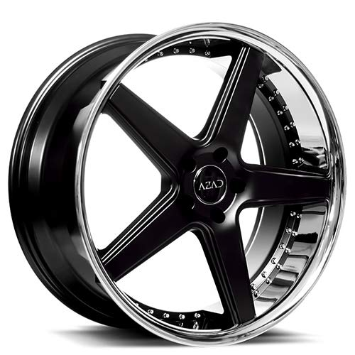 Azad AZ008 – 20 Inch Rims – Set of 4 Semi Gloss Black with Chrome Lip Wheels – Sports Racing Cars – Fits Challenger, Charger, Mustang, Camaro, Cadillac and More (20x8.5) – Car Rim Wheel Rines Carros