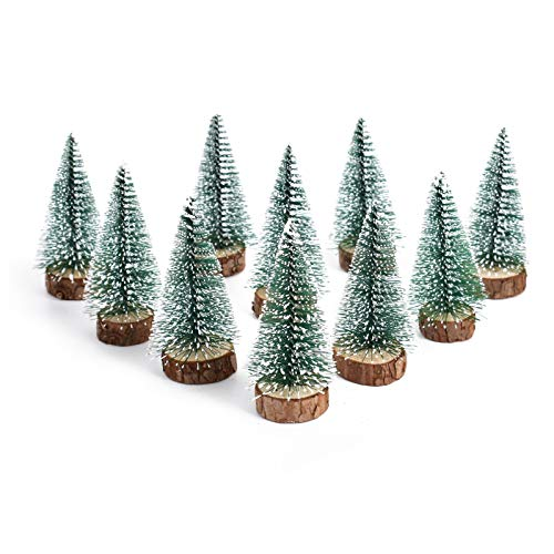 huianer 10PCS 100mm Mini Snow Frost Trees Mini Christmas Tree Plastic Winter Snow Ornaments Tabletop Trees for Holiday Party DIY Room Decor Home Table Top Christmas Decoration Diorama Models