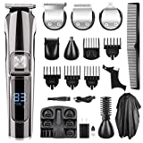 Beard Trimmer For Men, Nozama Cordless Hair Trimmer 11 in 1 Mustache Trimmer,Hair Clippers IPX7 Waterproof Multi-functional Grooming Kit,Nose Ear Body Groomer, Stand Base,With Display USB Rechargeab