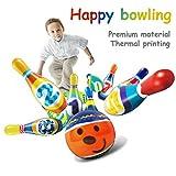 Juego de bolos, juguetes de bolas de bolos, juego de bolos de PU colorido Juegos familiares de interior Regalos educativos de juguetes para niños Niños Niños Niñas, incluye 8 pines y 2 bolas