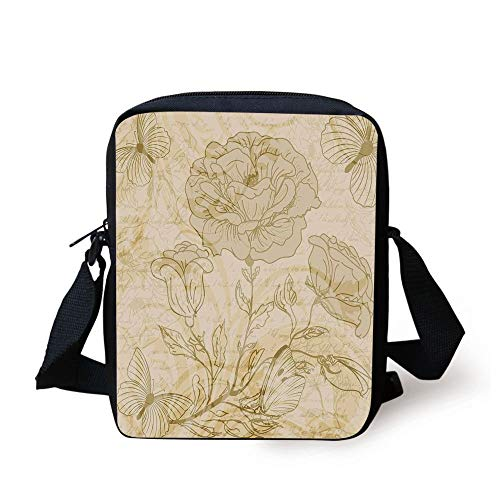FFLISHD Beige,Various Sized Flourishing Roses and Butterflies Spring on Grungy Background Retro Art Deco,Mode Beige Print Kids Crossbody Messenger Bag Purse