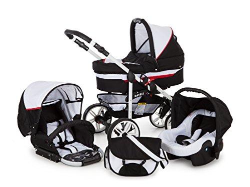 Lux4kids 3in1 kinderwagen Megaset 4 kleuren zwenwielen alles in één autostoel Isofix babykuip babyschaal Matrix Go 3in1+Wollfußsack+Sonnenschirm wit & rood