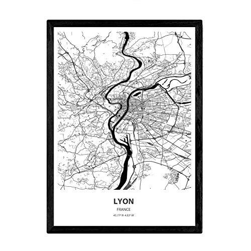 Nacnic Poster con Mapa de Lyon - Francia. Láminas de Ciudades de Francia con Mares y ríos en Color Negro. Tamaño A3