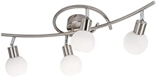 Nino LED Jojo Balken Strahler  4flg Loxy Nickel Glas opal matt weiss