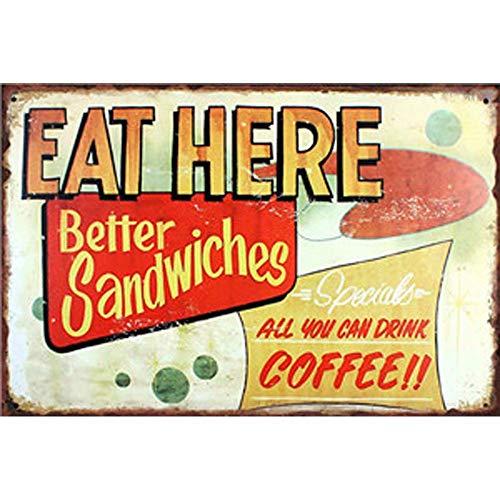 Hemore 20/x 30/cm Bo/îte en m/étal vintage plaque murale Poster pour caf/é Bar Pub Mots papeterie Fournitures de bureau