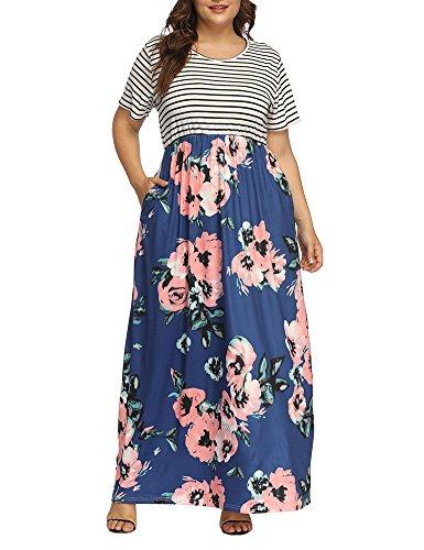 Allegrace Women's Plus Size Floral Print Striped Patchwork Maxi Dress Short Sleeve Long Dresses Blue 4X