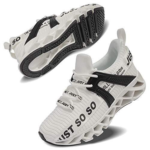 Vivay Unisex-Kinder Turnschuhe Sportschuhe Hallenschuhe Leicht Atmungsaktiv Laufschuhe Sneaker für Jungen Mädchen,2Weiß,34 EU