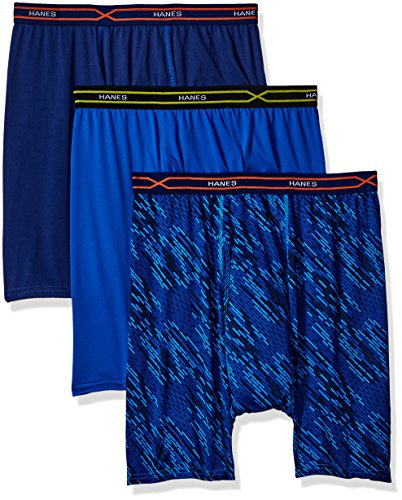 Hanes Men's 3-Pack X-Temp Performance Cool Boxer Brief (1 Print/2 Solids), Assorted, Large