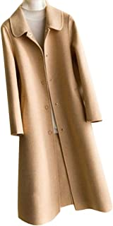 Macondoo Women Winter Overcoat Wool-Blended Single Breasted Pea Coat