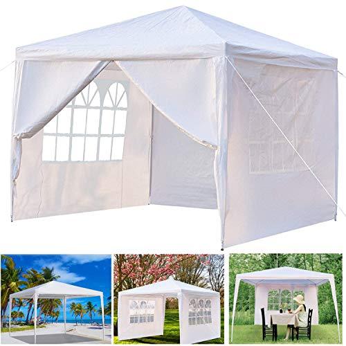 Pavillon 3 x 3m Wasserdicht Stabil Hochzeit Gartenzelt Partyzelt Gartenpavillon mit 4 Seitenwänden 90G PE Weiß Gartenzelt für Garten Party Hochzeit Picknick Markt Camping Festival