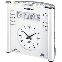 Sangean RCR-3 FM-RDS (RBDS)/AM/Aux-in Tuning Clock Radio with Radio Controlled Clock, White, 14 Memory Preset Stations (7 FM, 7 AM), Radio Controlled Clock Available from DCF/WWVB, Dual Time Display LCD and Analog Clock