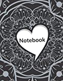 NOTEBOOK: Blank lined journal, Valentine's day gift for couple boyfriend, girlfried, from a husband to his wife to say, Cute and funny present to ... or her to write notes, White heart mandala