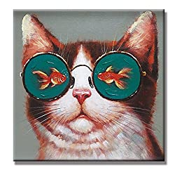 funny oil paintings - cat with fish glasses