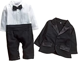 Newborn Infant Baby Boys Tuxedo Bow Tie Jumpsuit Romper and Black Jacket 2-pc Formal Wear Suit