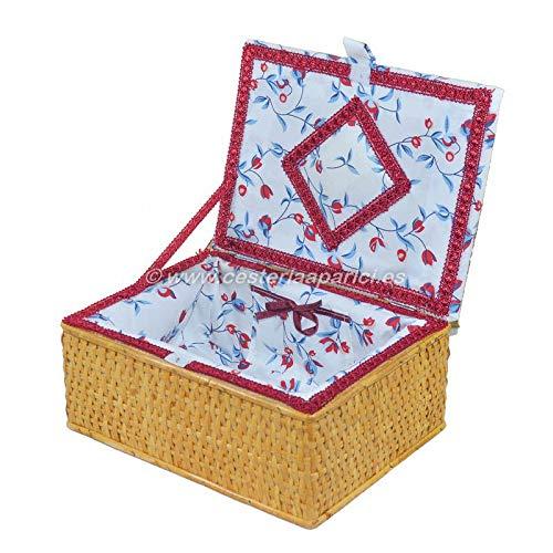 Cesteria Aparici - Costurero de mimbre con tapa forrado. Puede variar el color del estampado de la tela.