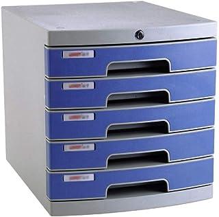 KANJJ-YU Tiroir de bureau Sorter 5 couches avec des informations Serrure de tiroir en plastique Bureau A4 Stockage Bleu 30...