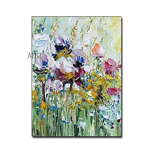 Living Equipment Hand Painted Oil Painting On Canvas,Palette Knife Modern Floral 100% Hand Painted Oil Paintings Artwork On Canvas Wall Art Pop Picture For Living Room Bedroom Home Decorations,40 t