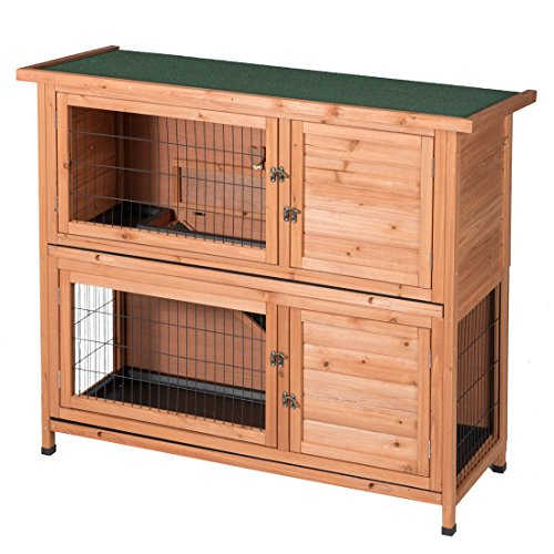 Good Life Two Floors Wooden Outdoor Indoor Bunny Hutch Rabbit Cage Guinea Pig Coop PET House for...