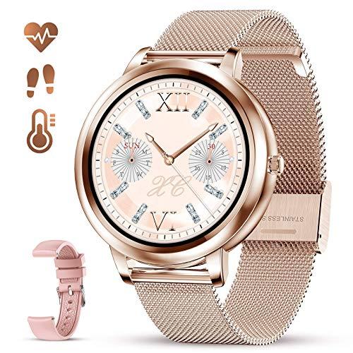 GOKOO Reloj inteligente para mujer con Bluetooth rastreador de actividad física con frecuencia cardíaca, sueño, monitor de presión arterial, calorías, podómetro, rastreador de actividad deportiva, smartwatchs IP67 impermeable al tacto completo