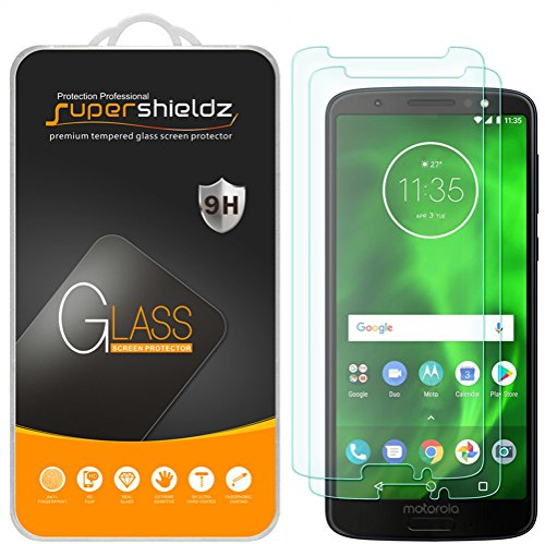 (2 Pack) Supershieldz Designed for Motorola Moto G6 Tempered Glass Screen Protector, Anti Scratch, Bubble Free