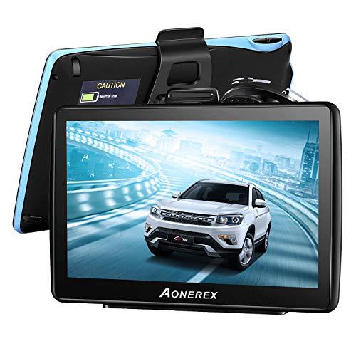 Aonerex Navigation für Auto 7 Zoll Touchscreen 8GB GPS Navi Navigationsgerät mit POI Sprachführung Fahrspurassistent LKW PKW KFZ mit Lebenszeit Kostenlose Kartenupdates 2020 Europa UK 52 Karten