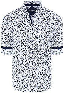 Tarocash Men's Zephyr Floral Print Shirt Regular Fit Long Sleeve Sizes XS-5XL for Going Out Smart Occasionwear