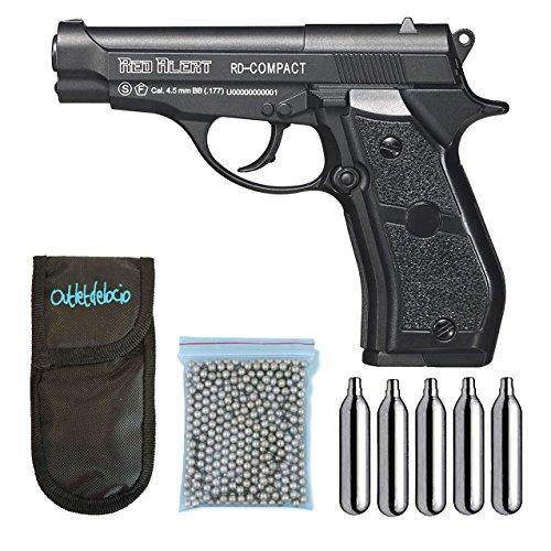 Outletdelocio., Pistola Perdigón Gamo Red Alert RD-Compact. Calibre 4,5mm BBS, Funda Portabombonas, Balines y Bombonas co2, 23054 29318 13275