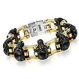 Cupimatch Herren Edelstahl Schädel Armband, 16mm Breite Schwere Edelstahl Totenkopf Fahrradkette Biker Motorradkette Rock Armreif, Silber schwarz Gold