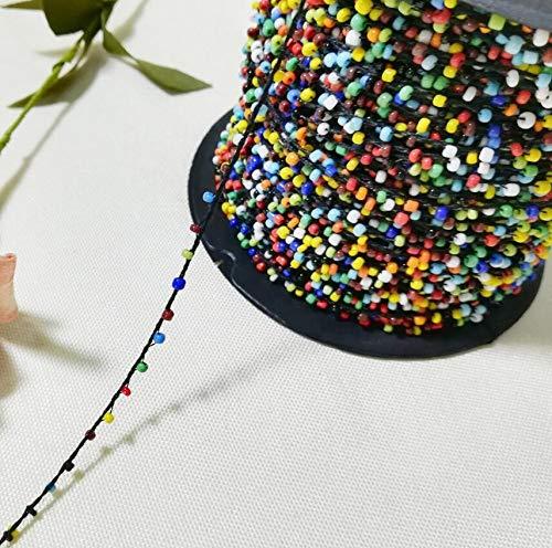 HUIJUNWENTI 1M wulstiger Stoff Regenbogen-Spitze-Kristall-Perlen Sequin Stoff Perlen verziert Band Nähen Applikationen Kragen Cord Brautkleid Dekor P16