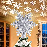 Kitart Christmas Tree Topper Lighted Star Tree Toppers with Rotating Snowflake Projector...