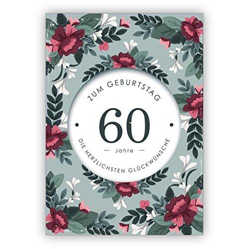 Klassiek stijlvolle verjaardagskaart met decoratieve bloemen voor de 60e verjaardag: 60 jaar voor de verjaardag de meest hartelijke felicitaties • mooie felicitatie cadeaukaarten met enveloppen zakelijk 16 Grußkarten groen