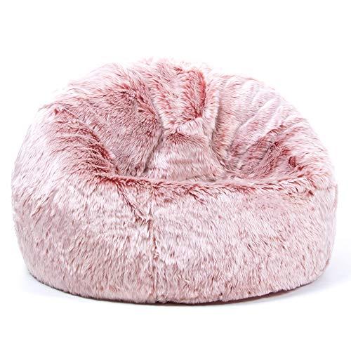 icon Hacienda Childrens Faux Fur Bean Bag Chair - Rose Pink, Large, 65cm x 45cm, Luxurious Furry Living Room Kids Bean Bags