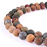 PLTbeads Gorgeous Picasso Jasper Natural Gemstone Loose Beads 6mm Matte Round Approxi 15.5 inch DIY Bracelet Necklace For Jewelry Making