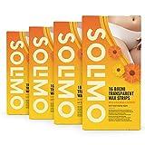 Marca Amazon - Solimo - Bandas de cera zona del bikini con extracto de caléndula y 4 toallitas posdepilación (4x16 bandas de cera)