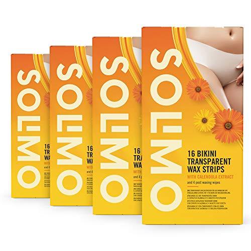 Amazon-Marke: Solimo transparente Wachsstreifen für die Bikinizone mit Ringelblumen-Extrakt und 4 Post-Epilationstüchern (4 x 16 Wachsstreifen)