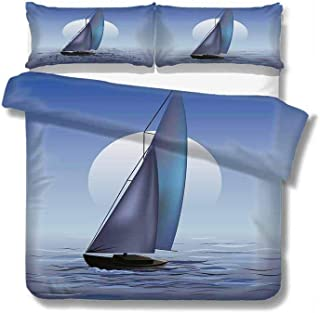 Kresdy Direct Nautical Extra Large Quilt Cover Sailing Boat in Moonrise Dramatic Sky Ocean Reflections Wavy Serene Illustration Can be Used as a Quilt Cover-Lightweight (King) Violet Blue