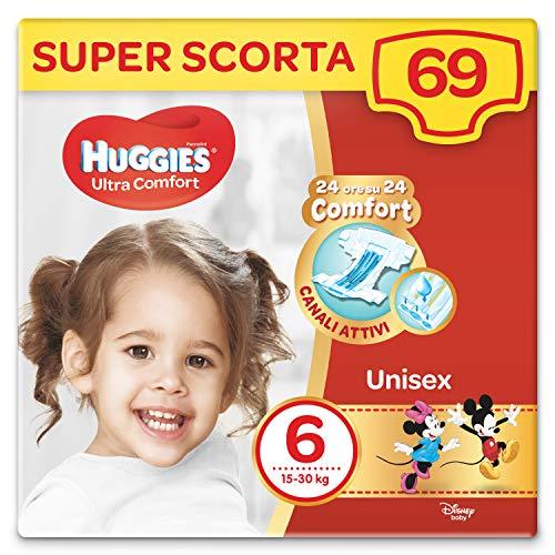 Huggies Pañales ultra confort, talla 6 (16-30 kg), paquete de 69 pañales