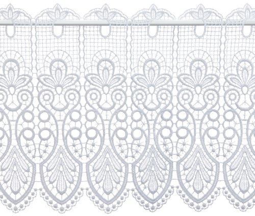Plauener Spitze by Modernizer 68450_35_w - Tenda corta, motivo Plauener Spitze, 100% poliestere, altezza 35 cm, colore: Bianco Breite 176 cm