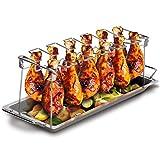 Grill Republic Premium Hähnchen-Halter (BBQ-Rack) I Hähnchenschenkelhalter aus Edelstahl für bis zu 12 Keulen l Platzsparendes Grillzubehör als optimales Geschenk für Grillfans