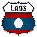 St574ony Vintage Road Tin Signs Laos Country Nation Flag
