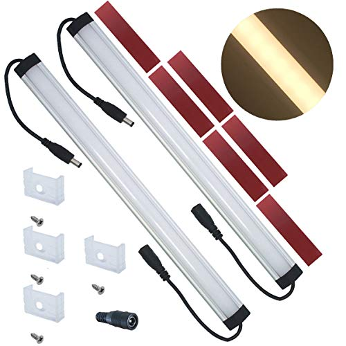 Litever Extra Under Cabinet Lighting Bars,12VDC, 3000K Warm White, with Mounting Clips, Screws, Self-Adhesive Pads. Compatible with Litever LL-008 Series ONLY-[2-Pack-3000K]