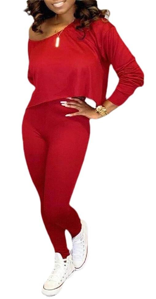 単調な標準効果的女性長袖オフショルダー弾性ウエストロングパンツジャンプスーツ衣装