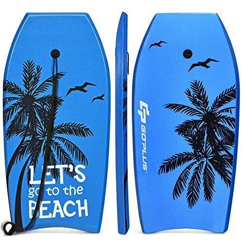 COSTWAY Bodyboard, Schwimmbrett Schwimmboard, Surfbrett Kinder und Erwachsene, Surfboard, Sup-Board 104x51x6cm (Blau und schwarz)