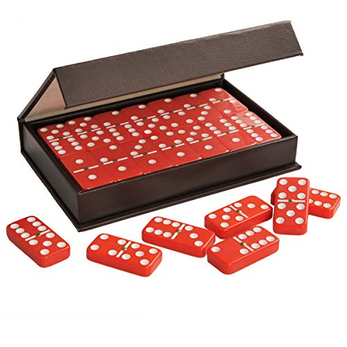 ZOOCEN Dominoes Double 6 Red Tiles with Spinner Pack in Leatherette Case