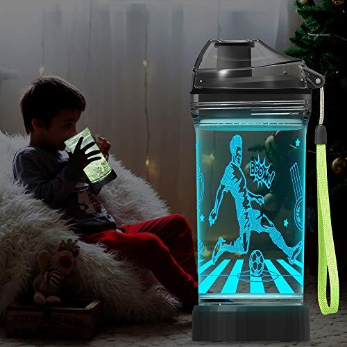 Lightzz Botella de agua para niños con luz de ilusión LED de fútbol brillante 3D - 14 oz Tritan BPA Free - Taza de viaje ideal creativa