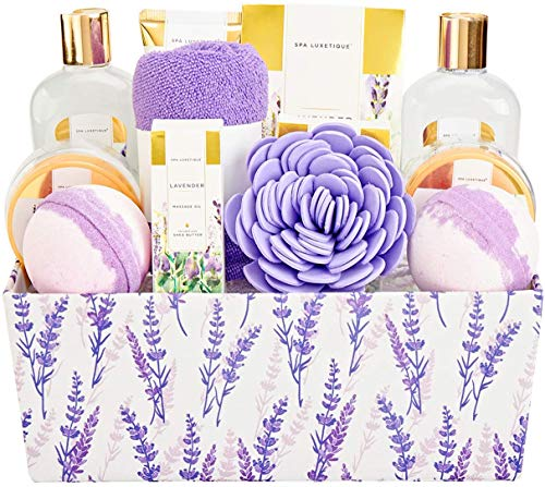 Spa Gifts for Women, Spa Luxetique Lavender Bath Set, Valentines Day Spa Gift Baskets, Relaxing Spa Kit, Luxury 12 Pcs Bath Gift Sets with Massage oil, Bath Salts, Body Scrub, Best Gift Set for Women.