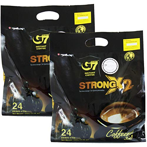 Trung Nguyen - G7 Strong X2 3 In 1 Instant Coffee - 24 sticks   Roasted Ground Coffee Blend Double strength, with Creamer and Sugar, Suitable for Most Coffee Brewing Methods, (24 sticks x 25gr/stick)