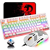 Mechanical Gaming Keyboard Blue Switch Mini 82 Keys Wired Rainbow LED Backlit Keyboard,Lightweight Gaming Mouse 6400DPI Honeycomb Optical,Gaming Mouse Pad for Gamers and Typists(White)