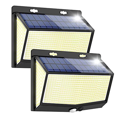 Luce Solare LED Esterno Super luminose 468 LED Faretti Solari a Led da Esterno Lampada con Sensore di Movimento 3 Modalità IP65 Impermeabile per Giardino Parete Risparmio Energetico 2 Pezzi
